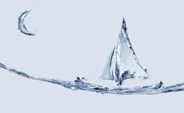 Шлюпка и скача рыбы стоковое изображение