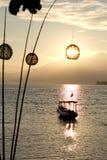 Шлюпка на зоре Взгляд Lombok от Gili Meno; Стоковое фото RF