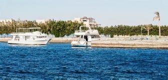 Шлюпка на пристани в Красном Море в Египте, Африке стоковые фотографии rf