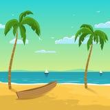 Шлюпка на пляже бесплатная иллюстрация