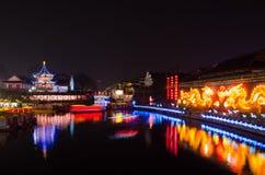 Шлюпка на реке Qinghuai в виске Конфуция Стоковые Изображения