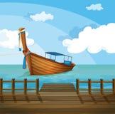 Шлюпка около морского порта иллюстрация штока