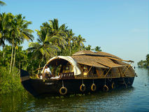 Шлюпка дома в Керале, Индии Стоковые Фотографии RF
