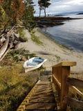 Шлюпка песка пляжа океана Стоковые Изображения RF