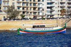Шлюпка путешествия в гавани Sliema, Мальте Стоковая Фотография RF
