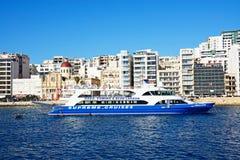 Шлюпка путешествия и портовый район Sliema, Мальта Стоковое Изображение