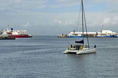 Шлюпка старта в заливе гавани Кейптауна Стоковое Изображение RF