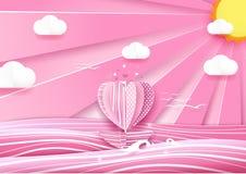 Шлюпка формы сердца в небе моря и облака человек влюбленности поцелуя принципиальной схемы к женщине бесплатная иллюстрация