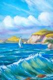 Шлюпка Sailing в море Стоковые Фотографии RF