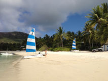 Шлюпки, женщина и пальмы на тропическом острове приставают к берегу Стоковое Изображение RF