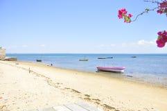 Шлюпки и ландшафт моря острова Мозамбика Стоковое Изображение RF