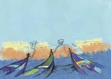 Шлюпки и море Стоковая Фотография RF