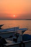 Шлюпки на зоре Стоковая Фотография RF