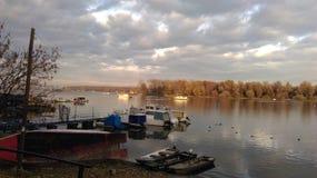 Шлюпки на реке Дунае Стоковая Фотография