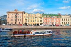 Шлюпки на реке Fontanka Санкт-Петербург Россия Стоковое фото RF