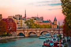 Шлюпки проходя под Pont Neuf в Париже, Франции стоковая фотография rf
