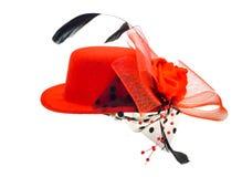 Шляпа дамы изолированная на белой предпосылке Стоковые Изображения