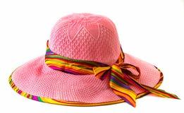 Шляпа дамы на белой предпосылке Стоковое Фото