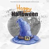 Шляпа ведьмы акварели нарисованная рукой Бесплатная Иллюстрация
