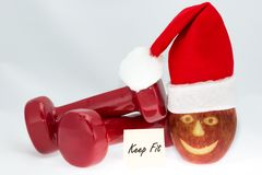 Шляпа гантелей, яблока и красного цвета Стоковое Изображение