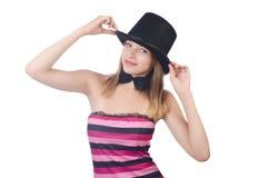 Шляпа девушки очарования нося изолированная на белизне Стоковое фото RF