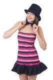 Шляпа девушки очарования нося изолированная на белизне Стоковая Фотография