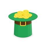 Шляпа лепрекона с золотом иллюстрация штока