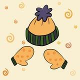 Шляпа зимы и комплект иллюстрации вектора mittens Стоковые Изображения