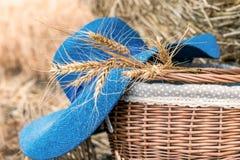 Шляпа и корзина женщин на стоге сена Сразу взгляд Стоковые Изображения RF