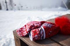 Шляпа и перчатки на предпосылке снежных гор Стоковая Фотография