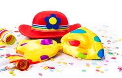 Шляпа масленицы, бабочка, confetti Стоковая Фотография