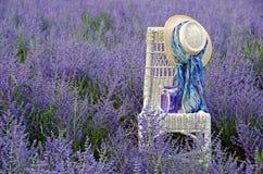 Шляпа на стуле в фиолетовом поле цветка Стоковая Фотография