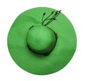 Шляпа пляжа шляпа при коробки изолированные на белой предпосылке зеленый ha Стоковое Изображение
