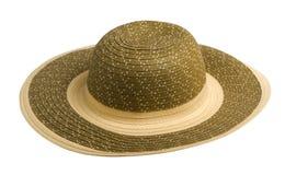 Шляпа пляжа шляпа при коробки изолированные на белой предпосылке Стоковые Фото