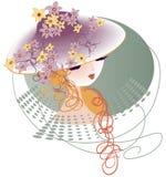 Шляпа украшенная с цветками иллюстрация вектора