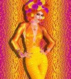 Шляпа цветка украшает эту красивую женщину с составом моды на красочной абстрактной предпосылке бесплатная иллюстрация