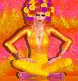 Шляпа цветка украшает эту красивую женщину с составом моды на красочной абстрактной предпосылке иллюстрация штока