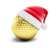 Шляпа santa шара для игры в гольф золота бесплатная иллюстрация