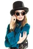 Шляпа steampunk девушки нося Стоковые Изображения