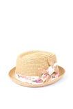 Шляпа Weave с смычком на белой предпосылке стоковое фото