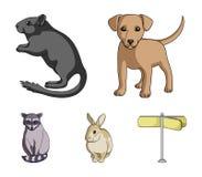 Щенок, грызун, кролик и другой вид животных Установленные животными значки собрания в шарже вводят запас в моду символа вектора Стоковое Изображение