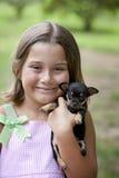 щенок девушки маленький Стоковое Фото