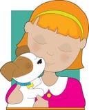 щенок девушки маленький иллюстрация штока