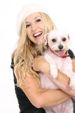 щенок девушки собаки смеясь над Стоковые Изображения RF