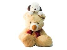 Щенок плюша и плюшевый медвежонок Стоковые Фотографии RF