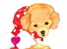 Щенок собаки с Анджелом подгоняет акварель Стоковое Изображение