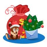 Щенок, сумка, подарки и конверт с ветвями ели и bolls перед большой сумкой иллюстрация вектора