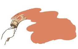 Щетка в руке красит стену Стоковые Изображения