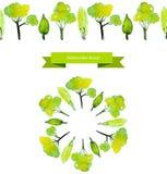Щетка дерева весны вектора Зеленые деревья акварели Стоковое Изображение RF