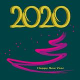 щетка 2020 золота покрашенная на яркой ой-зелен предпосылке иллюстрация вектора